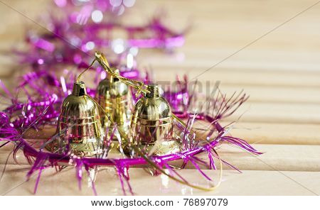 Golden Bells With Purple Decoration