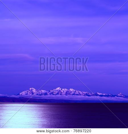 Lake Titicaca and the Andes at Full Moon in Bolivia
