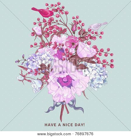 Gentle Spring Floral Bouquet with Birds
