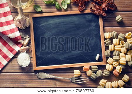vintage chalkboard and italian food ingredients