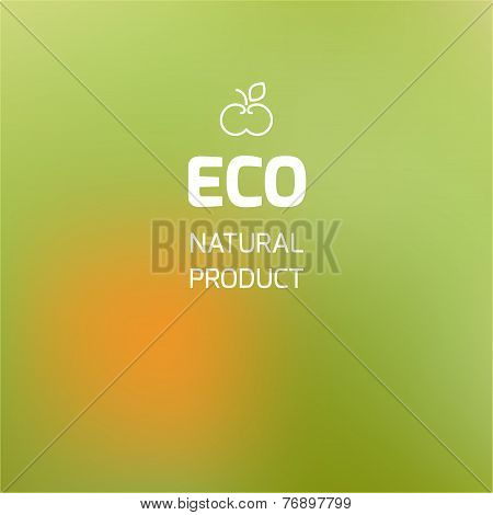 Blurred Background On The Theme Of Ecology And Icon With Symbolic Apple