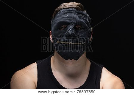 Photo of the man in handmade mask
