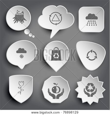 stub, recycle symbol, rain, snowfall, bag, tulip, apple in hands, protection nature. White vector buttons on gray.