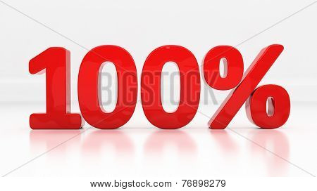 One hundred percent off. Discount 100.  Percentage. 3D illustration