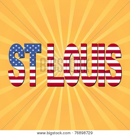St Louis flag text with sunburst illustration