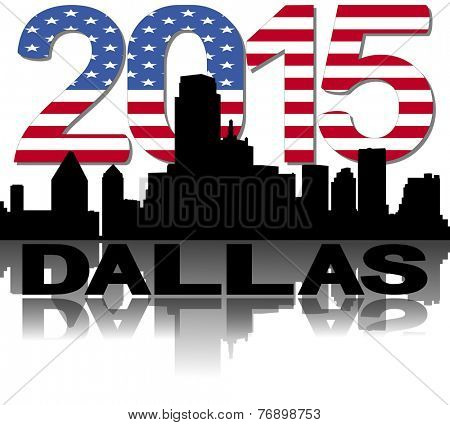 Dallas skyline 2015 flag text illustration