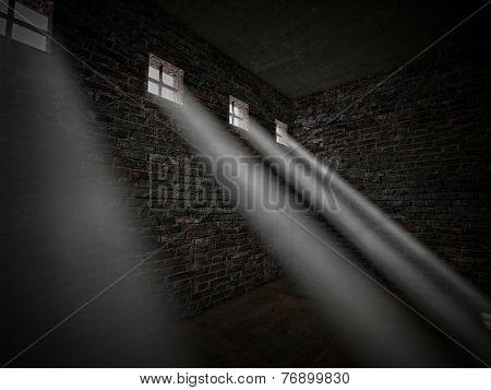 3d image of dark jail and bright window