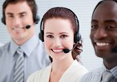 Confident Customer Service Representatives Standing In A Line