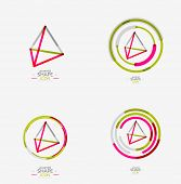 stock photo of triangular pyramids  - Pyramid shape line design - JPG