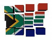 Постер, плакат: Флаг Южной Африки на кубики