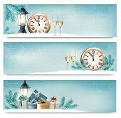 stock photo of champagne color  - Three Christmas - JPG