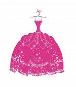 stock photo of princess crown  - Vector illustration beautiful dress for a princess - JPG