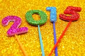 picture of glitz  - glittering numbers of different colors forming the number 2015 - JPG