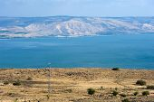 picture of golan-heights  - The lake of Galilee as seen from the west on the back are hills of the Golan Heights - JPG