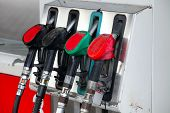 picture of petrol  - Pump nozzles at the gas station - JPG