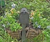 Photo of mailbox in garden.