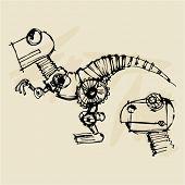 foto of dinosaur skeleton  - doodle dinosaur robot steampunk - JPG