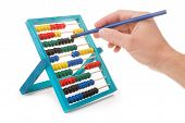 stock photo of subtraction  - Office tool abacus for accounts - JPG