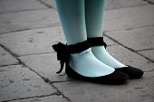 stock photo of pantyhose  - woman whit blue pantyhose in the street - JPG