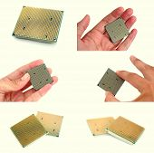 foto of microprocessor  - Modern CPU in mens hands set of images - JPG