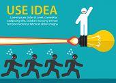 image of winner man  - White man on light bulb launch outstanding from crowd - JPG