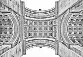 foto of charles de gaulle  - Underside of the Arc de Triomphe in Paris France in black  - JPG