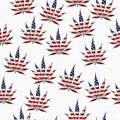 picture of marijuana leaf  - Marijuana Leaf with the colors of American flag Marijuana Leaf Pattern Repeat Background that is seamless and repeats - JPG
