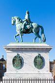 stock photo of v-day  - Bronze statue of the deceased Danish King Frederik V - JPG