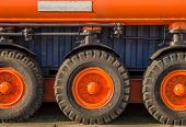 picture of monster-truck  - Close up of large wheels of a truck