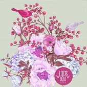 stock photo of mimosa  - Gentle Spring Floral Bouquet with Birds - JPG