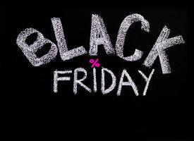 stock photo of friday  - Black Friday advertisement handwritten with chalk on blackboard Black Friday sale concept - JPG