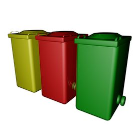 stock photo of dumpster  - Yellow red and green dumpsters isolated over white 3d render - JPG