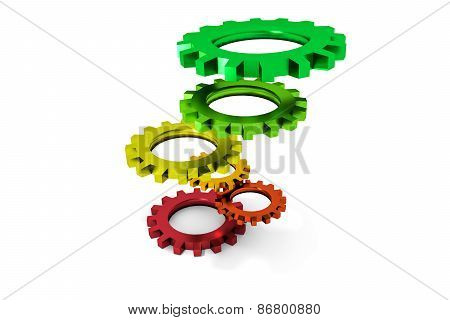 Tower Of Colorful Metallic Cogwheels Hovering