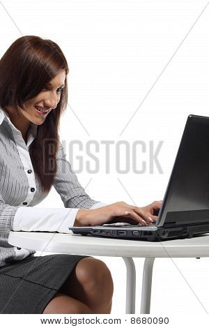 Happy Women Sitting With Computer