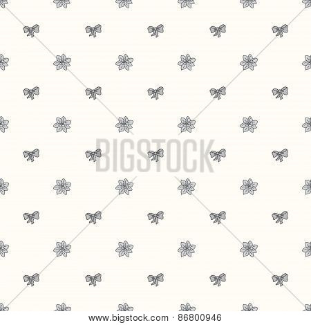Vector seamless retro pattern, with bow tie and flower Bud
