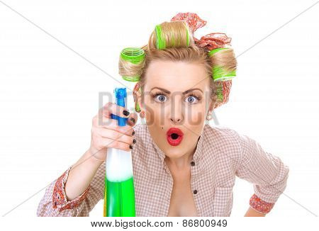 Funny Housewife / Woman Spraying The Cleaner On You, Isolated On White. Glass Or Window Cleaner