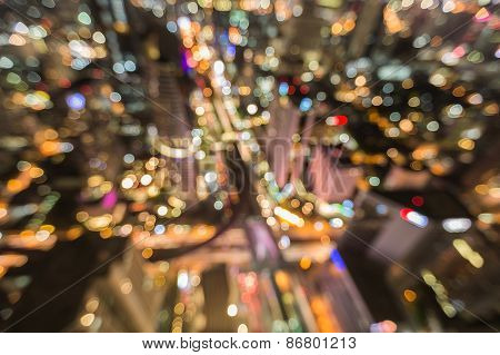 Blurred bokeh background, Cityscape in middle of Bangkok
