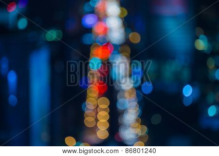 Blur of city night traffic