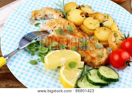 Rosemary Potatoes With Fried Fish Fillet