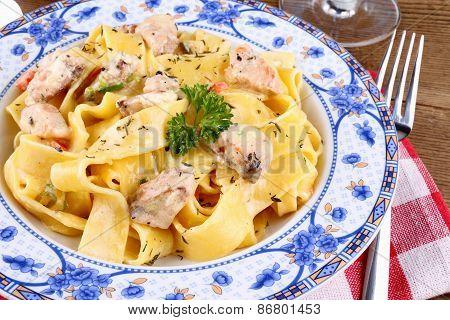 Fish Salmon Fillet With Tagliatelle Noodle
