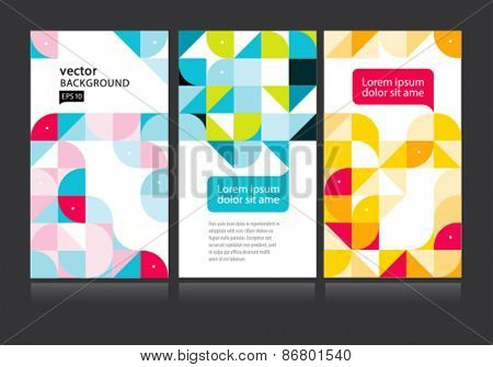 Vector set colorful geometric mosaic abstract composition.