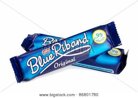 Two Nestle Blue Riband chocolate wafer biscuits