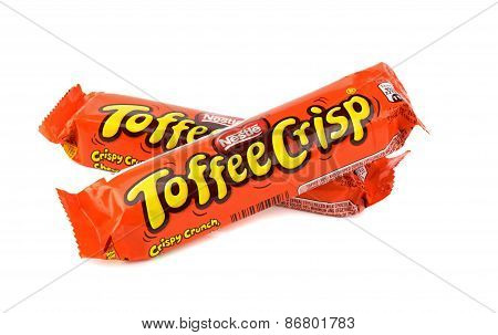 Two Nestle Toffee Crisp chocolate bars