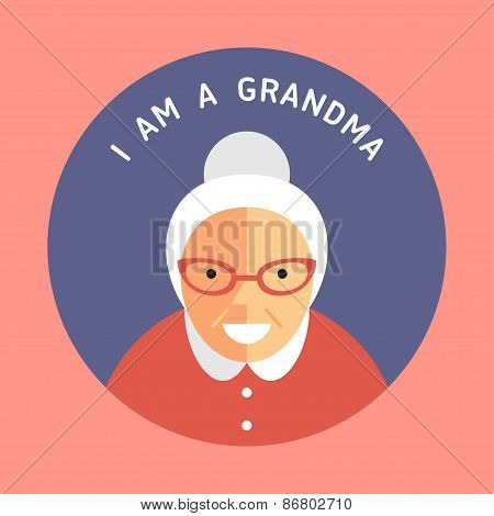 Portrait Of Grandmother. Flat Design Icon With Text I Am A Grandma