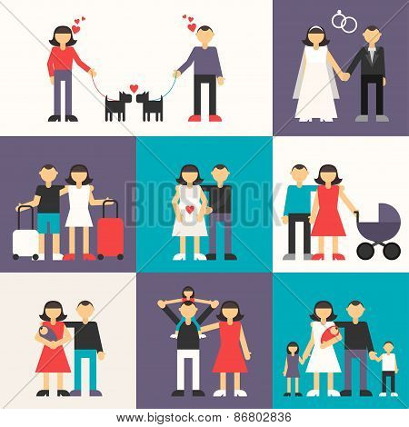 Set Of Flat Design Vector Illustrations. Happy Family. Friendship, Wedding, Honeymoon, Pregnancy, Bi