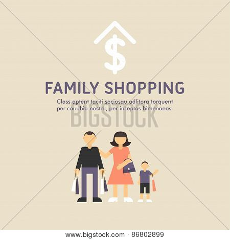 Happy Family Shopping. Parents With Son. Father, Mother, Son With Shopping Bags