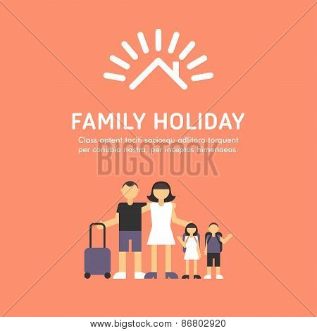 Happy Family Travel. Parents With Children. Father, Mother, Son And Daughter With Bags