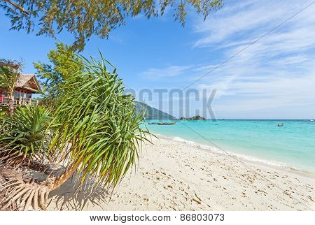 Bugalow By A Pristine Beach, Summer Paradise Background.