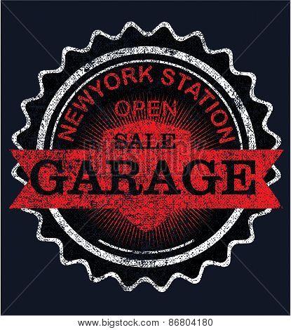 Vintage garage retro label