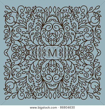 Floral  vector frame with copy space for text in trendy mono line style. Monogram design element